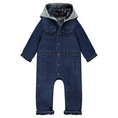 Denim-effect fleece playsuit with decorative hood