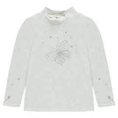 Thin long-sleeved sweater with printed butterfly