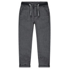 Jersey-lined pants with thin stripes