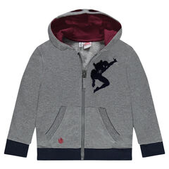 Zipped fleece vest © Marvel print Spiderman with fancy hood