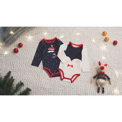 Set of 2 long-sleeved Christmas-themed bodysuits with allover print/penguin print