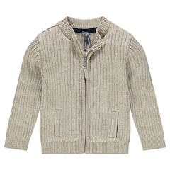 Plain-colored, ribbed knit cardigan.
