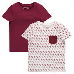 Set of 2 short-sleeved assorted tee-shirts