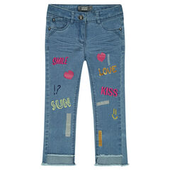 Crinkled-effect slim fit jeans with embroidery and prints