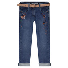 Used-effect jeans with a removable sparkly belt and embroidery details