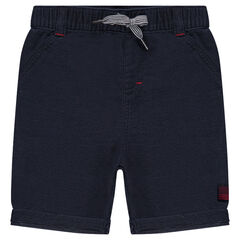 Plain-colored cotton bermuda shorts with an elastic waistband