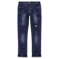 Junior - Used and crinkled-effect jeans with appliqué bands