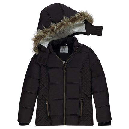 Junior- Padded coat with removable hood and sherpa lining
