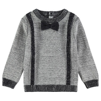 Knit sweater with a stitched bow tie