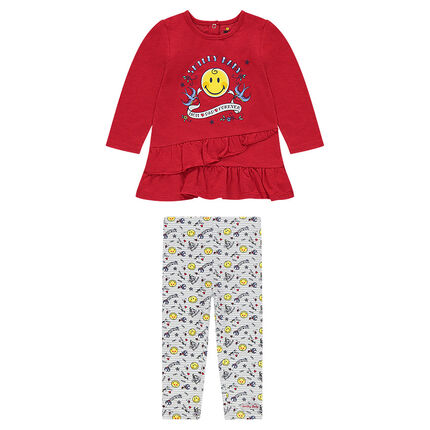Ensemble with a frilled tunic featuring a ©Smiley print and leggings with an allover print