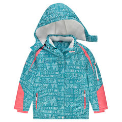 Junior - Fancy Print Ski Jacket With Microfleece Lining