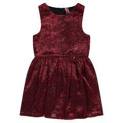 Sleeveless frilled dress with allover velvet polka dot effect