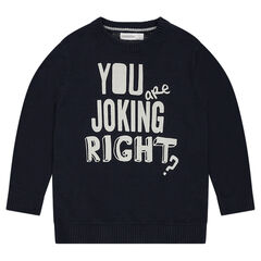 Knit sweater with a printed message