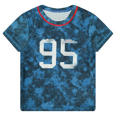 Short-sleeved overdyed-effect tee-shirt with printed numbers in front