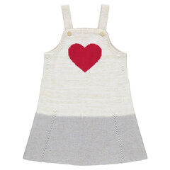 Knit pinafore dress with red jacquard heart