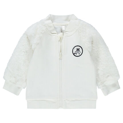 Two-fabric jacket in fleece with sherpa sleeeves