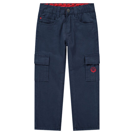 Microfleece-lined twill pants with pockets