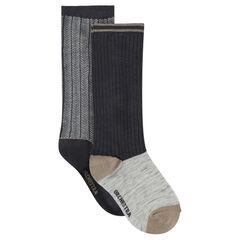Set of 2 pairs of chevron/ribbed knee high socks