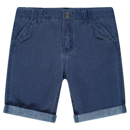 Woven cotton bermuda shorts with pockets
