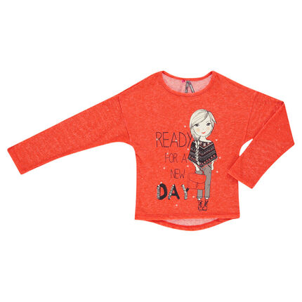 Lightweight, knit-aspect sweat shirt with girly print