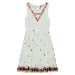 Junior - Long sleeveless dress with embroidery