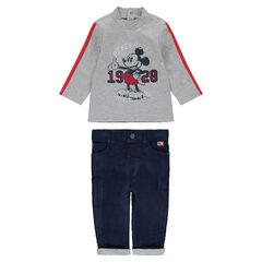 Ensemble with ©Disney Mickey Mouse tee-shirt and velvet pants