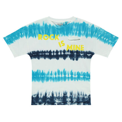 Junior - Short-sleeved shibori-effect jersey tee-shirt with a printed message