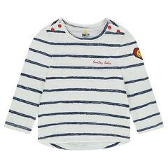 Slub jersey striped tee-shirt with a twill ©Smiley badge