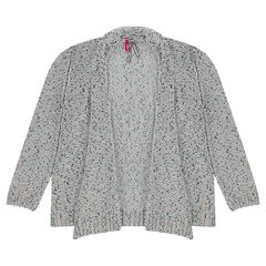 Neps-aspect knit cardigan with flaps