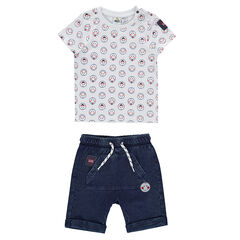 Ensemble with a tee-shirt featuring an allover ©Smiley print and denim-effect bermuda shorts