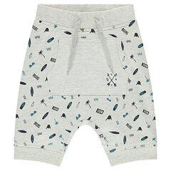 Fleece bermuda shorts with an allover print