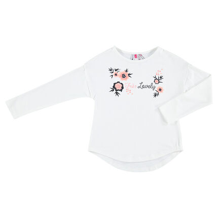 Long-sleeved jersey tee-shirt with embroidered flowers