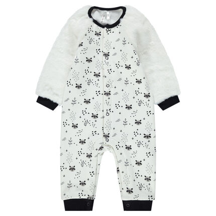 Jersey jumpsuit with sherpa sleeves and allover animals