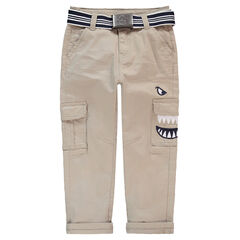 Twill pants with a removable belt and embroidered details