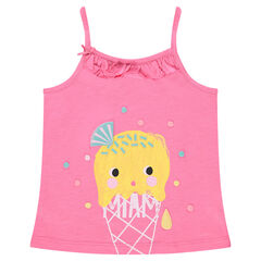 Jersey tank top with frills and print