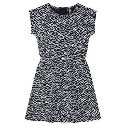 Short-sleeved dress with jacquard motif