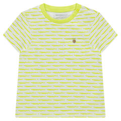 Short-sleeved jersey tee-shirt with fancy stripes and pocket