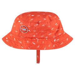 Poplin sun hat with an allover print and badge
