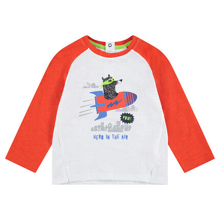 Long-sleeved two-tone jersey tee-shirt with printed bear