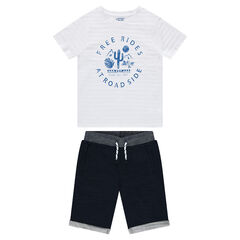Junior - Printed t-shirt and fleece bermuda set