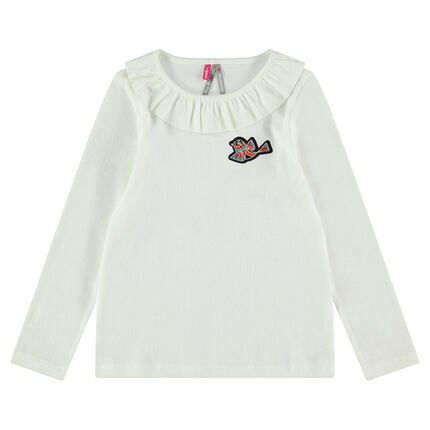 Long-sleeved ribbed tee-shirt with bird badge and ruffled neck