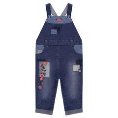 Used-effect denim overalls with patches and floral embroidery