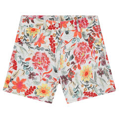 Junior - Basket weave cotton shorts with flowers printed all over