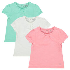 Set of 3 short-sleeved plain-colored tee-shirts