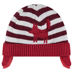 Sherpa-lined knit cap with jacquard stripes and motif