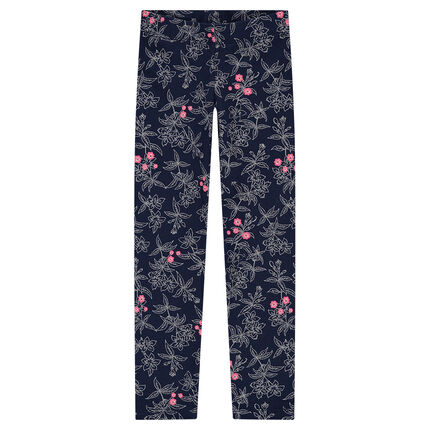 Jersey leggings with allover printed flowers