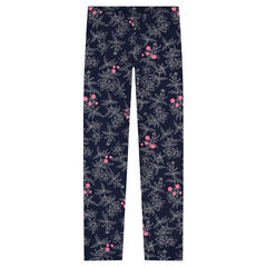 Junior - Jersey leggings with allover printed flowers