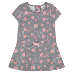 Short-sleeved fleece dress with roses printed all over
