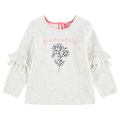 Neps-effect fleece sweatshirt with embroidery and frills