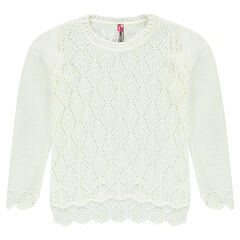 Sweater with openwork knit and scalloped finishes